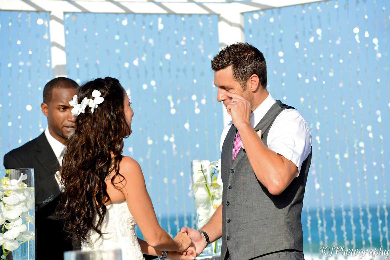 groom cries at wedding