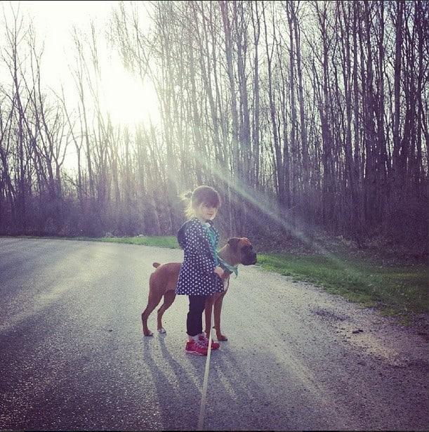 GIrl Walking Dog 1