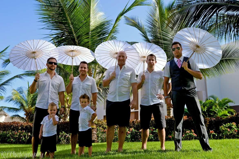 groomsmen and parasols