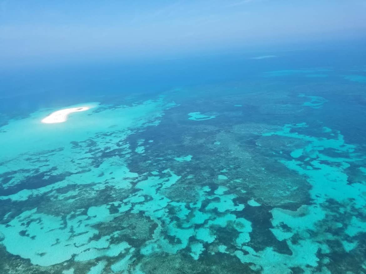 view of key west from dry tortugas seaplane