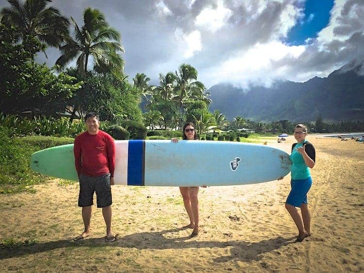 learning how to surf in Kauai