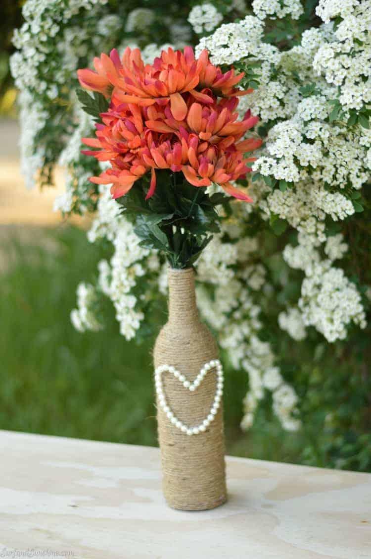 rustic wedding craft diy rope vase