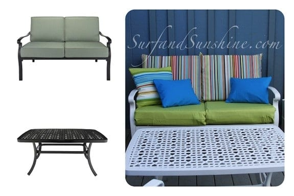 loveseat table before after