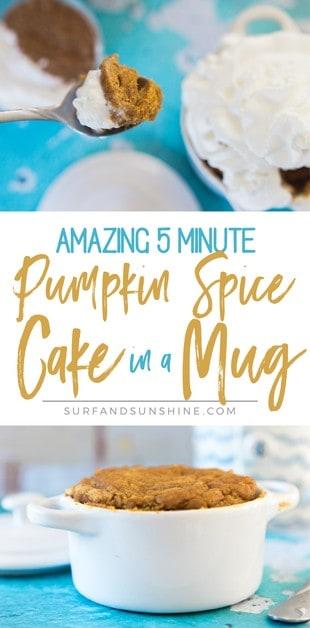 pumpkin spice cake in a mug recipe