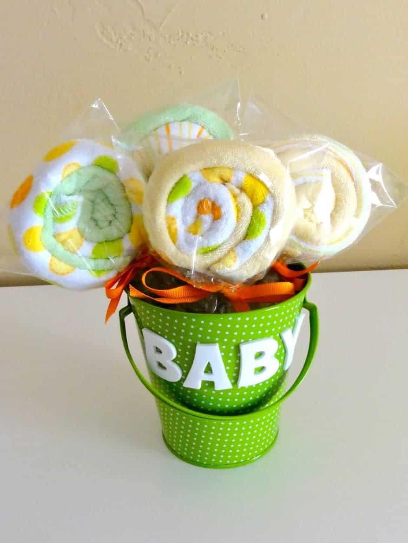 DIY baby washcloth lollipops
