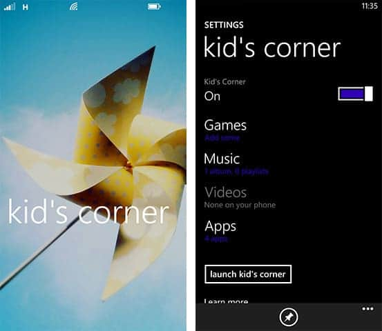 Surrendering Your Phone is Safe with Kids Corner Windows Phone