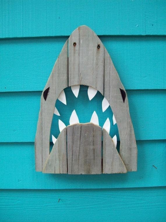 shark art recycled fence wood