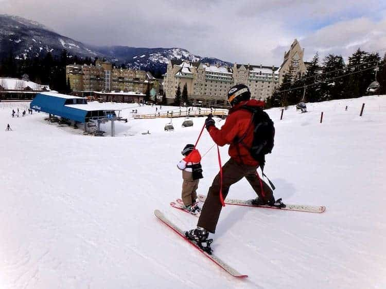 baby and father ski whistler canada