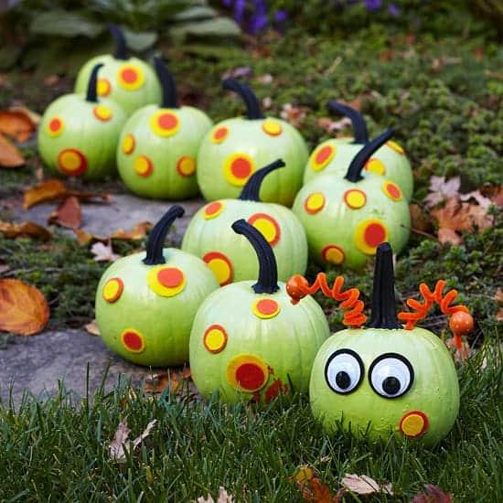 caterpillar painted halloween pumpkins