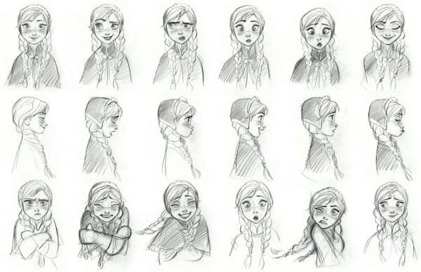 """""""FROZEN"""" Anna model sheet. ©2013 Disney. All Rights Reserved."""