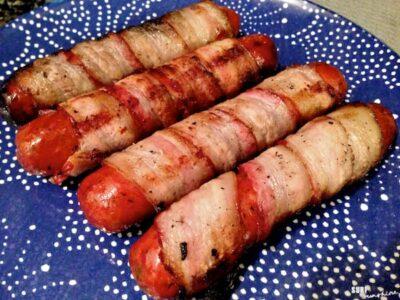 bacon wrapped sausage mummies halloween recipe 2 1