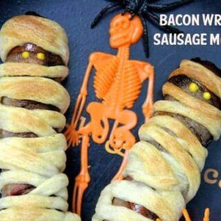 bacon wrapped sausage mummies halloween recipe 21