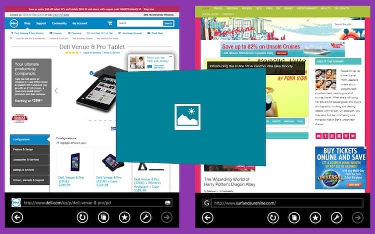 Dell Venue Pro 8 Split Screen