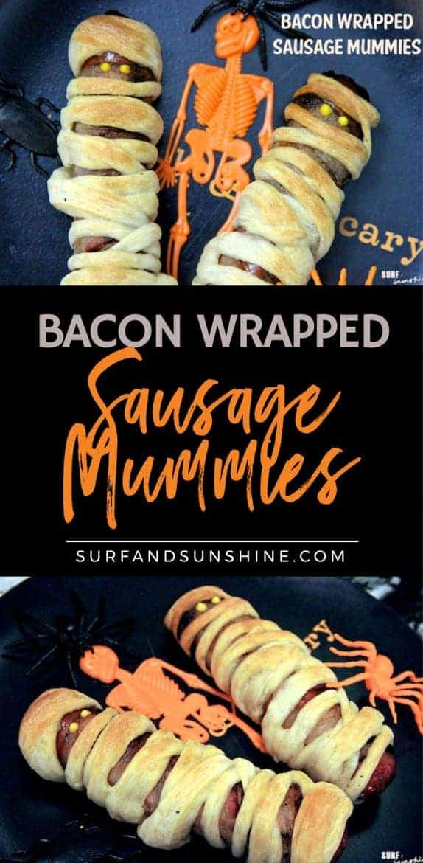 halloween recipe bacon wrapped sausage mummies