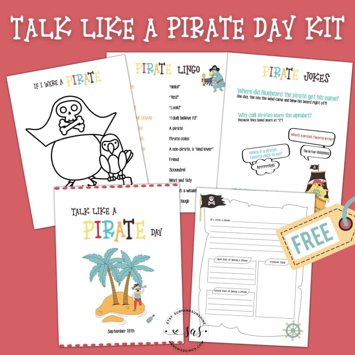 Talk Like a Pirate Day Printables Free