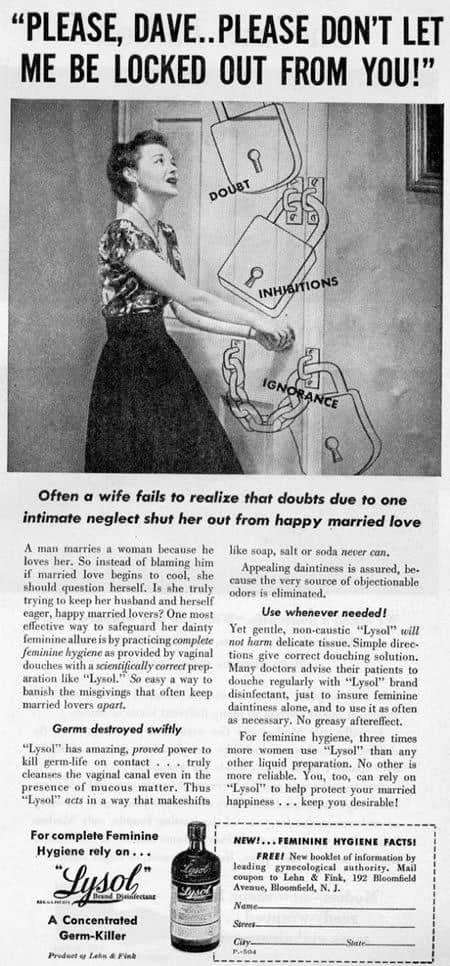 shocking vintage ad lysol