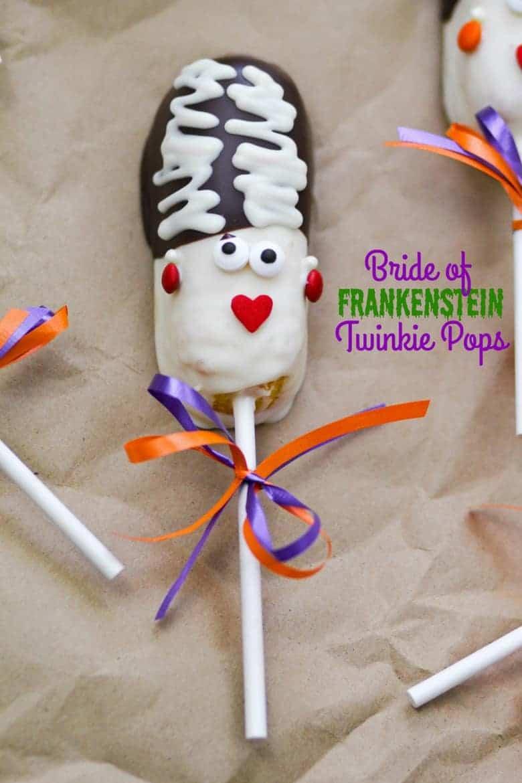 halloween treat recipe bride of frankenstein twinkie pops