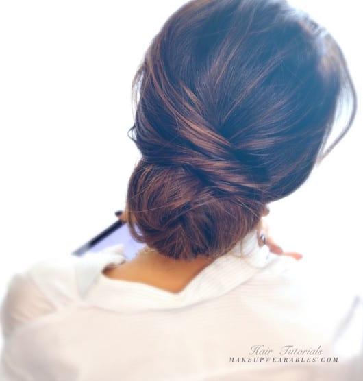 Easy Messy Bun Updo Hairstyle for Medium Long Hair Tutorial