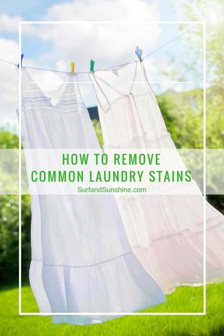 dresses hanging on a clothes line captioned how to remove common laundry stains