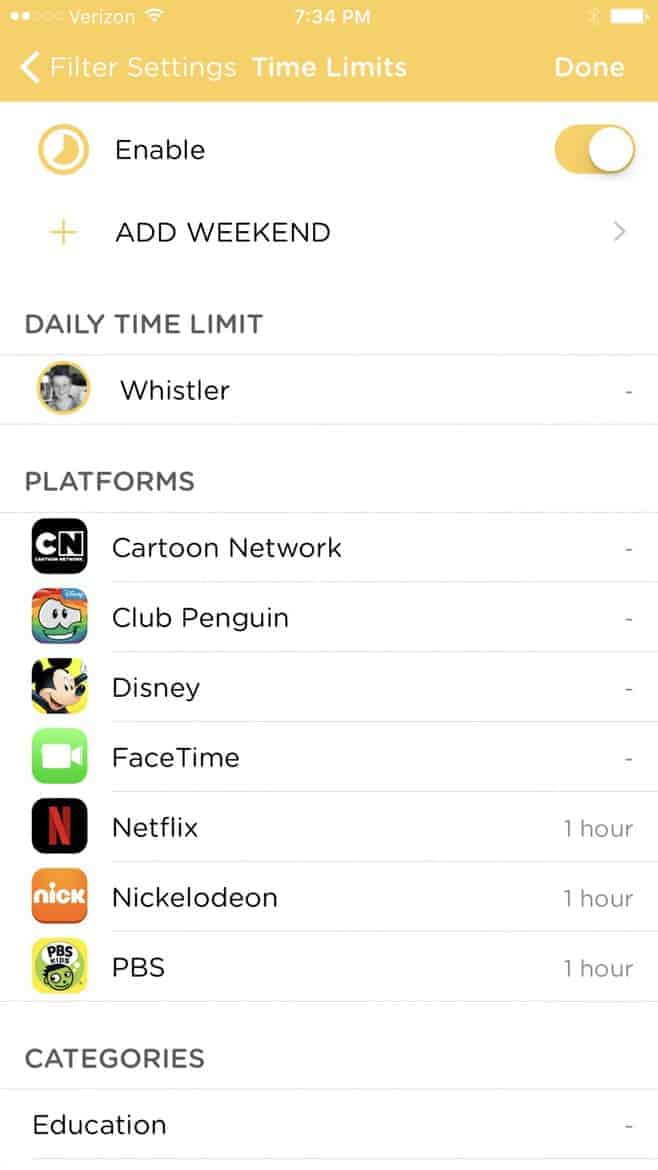 Circle with Disney Family Device Management