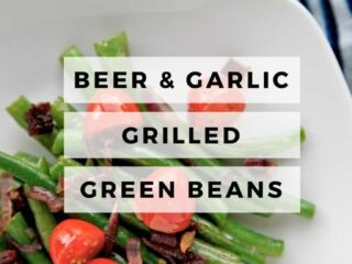Beer and garlic grilled green beans with tomatoes