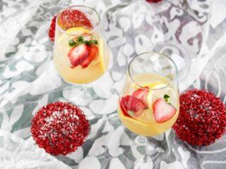 Ginger & Strawberry Whiskey Lemonade Recipe pinterest image