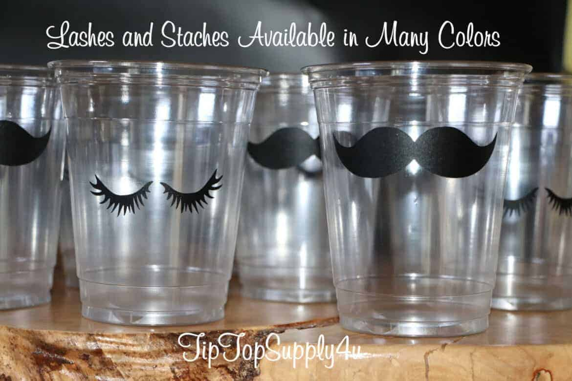 gender reveal party ideas  lashes and stashes cups