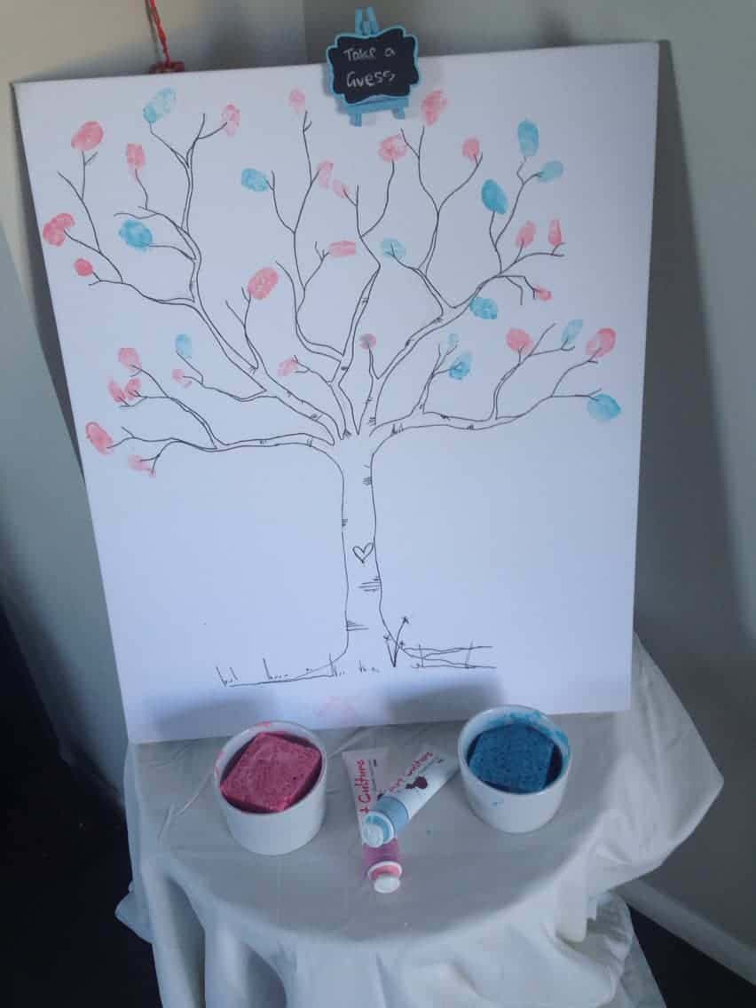 gender reveal party ideas thumbprint tree