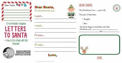 Printable Letter to Santa Templates