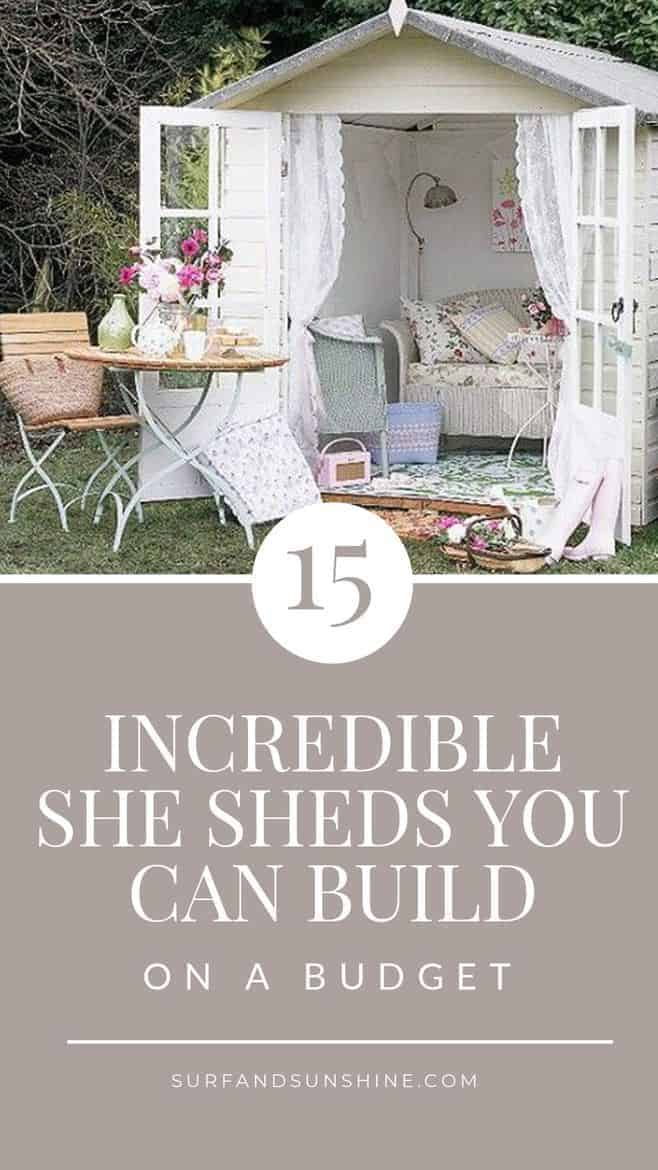 15 amazing She Sheds to retreat for some peace and quiet, to create, write, paint, drink wine or just enjoy the view via @jeanabeena