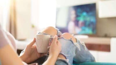 relaxing in front of tv
