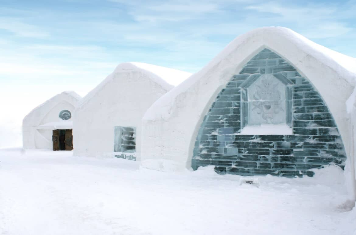Windows of Ice hotel Quebec, Canada.