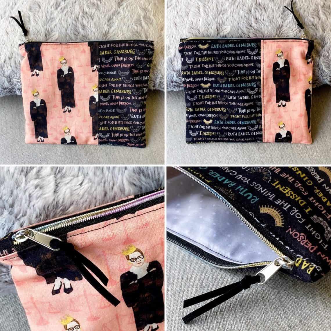 RBG  Ruth Bader Ginsburg Zipper Makeup Travel Pouch