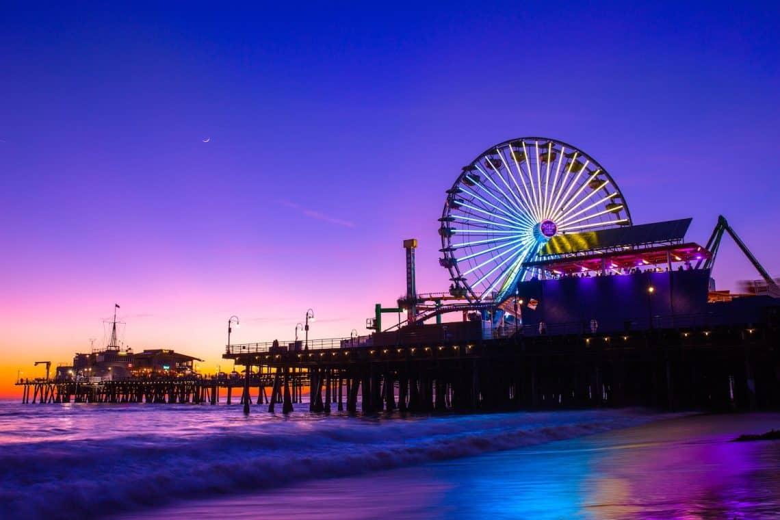 amusement park sunset pier