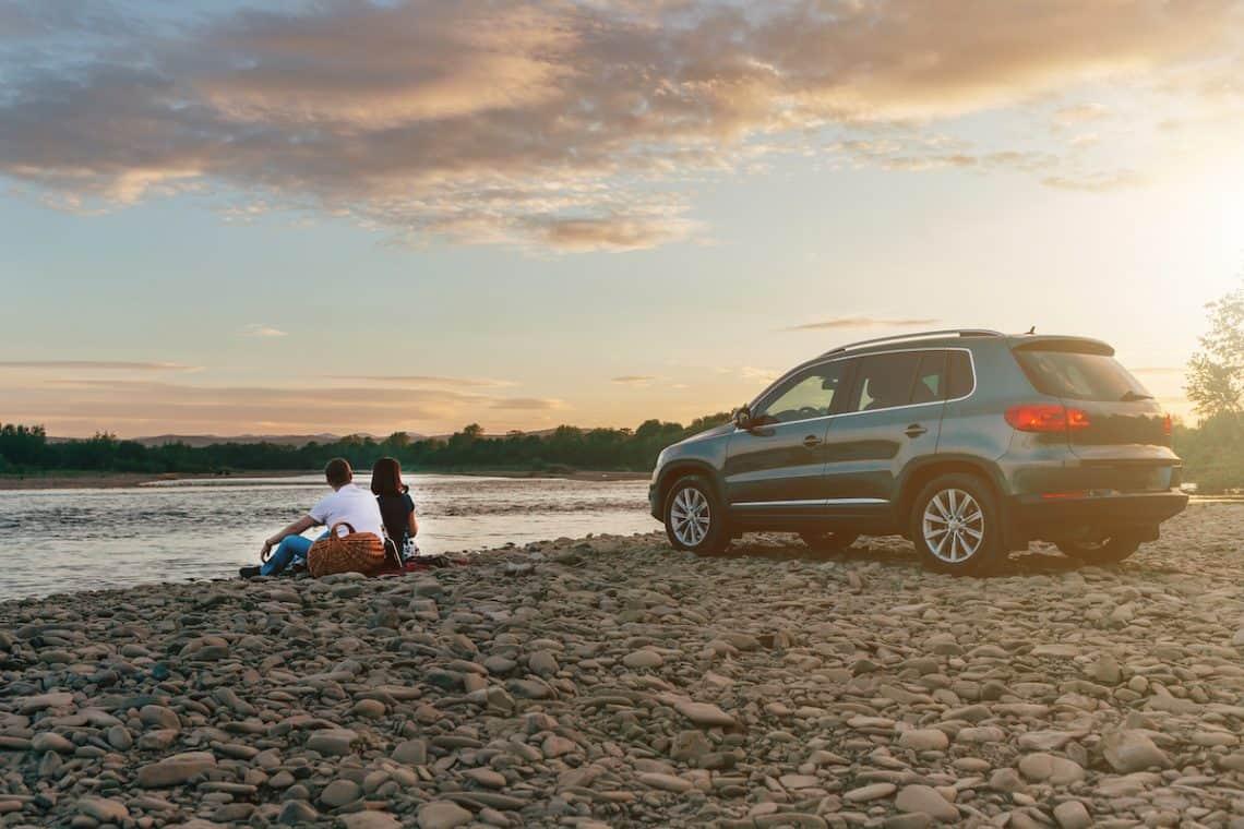 car rental beach couple
