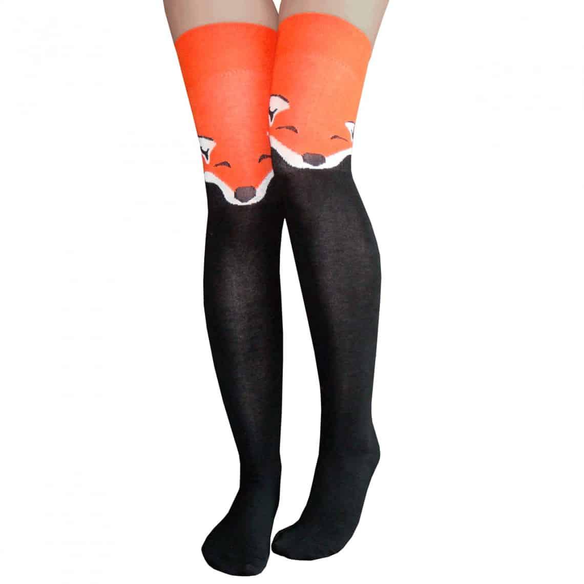 fox thigh high socks