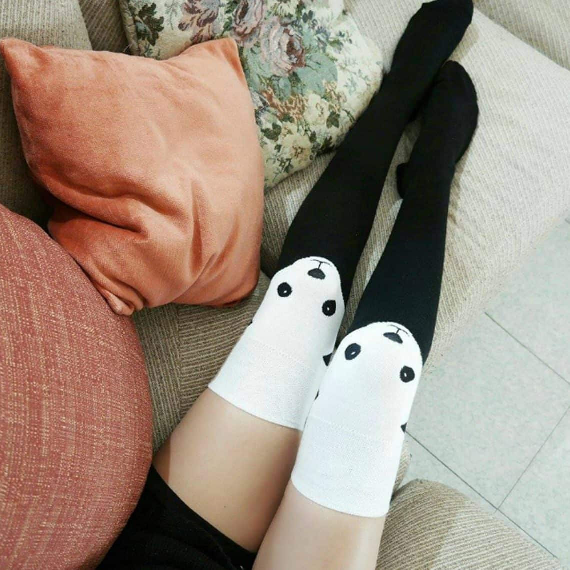 thigh high panda socks