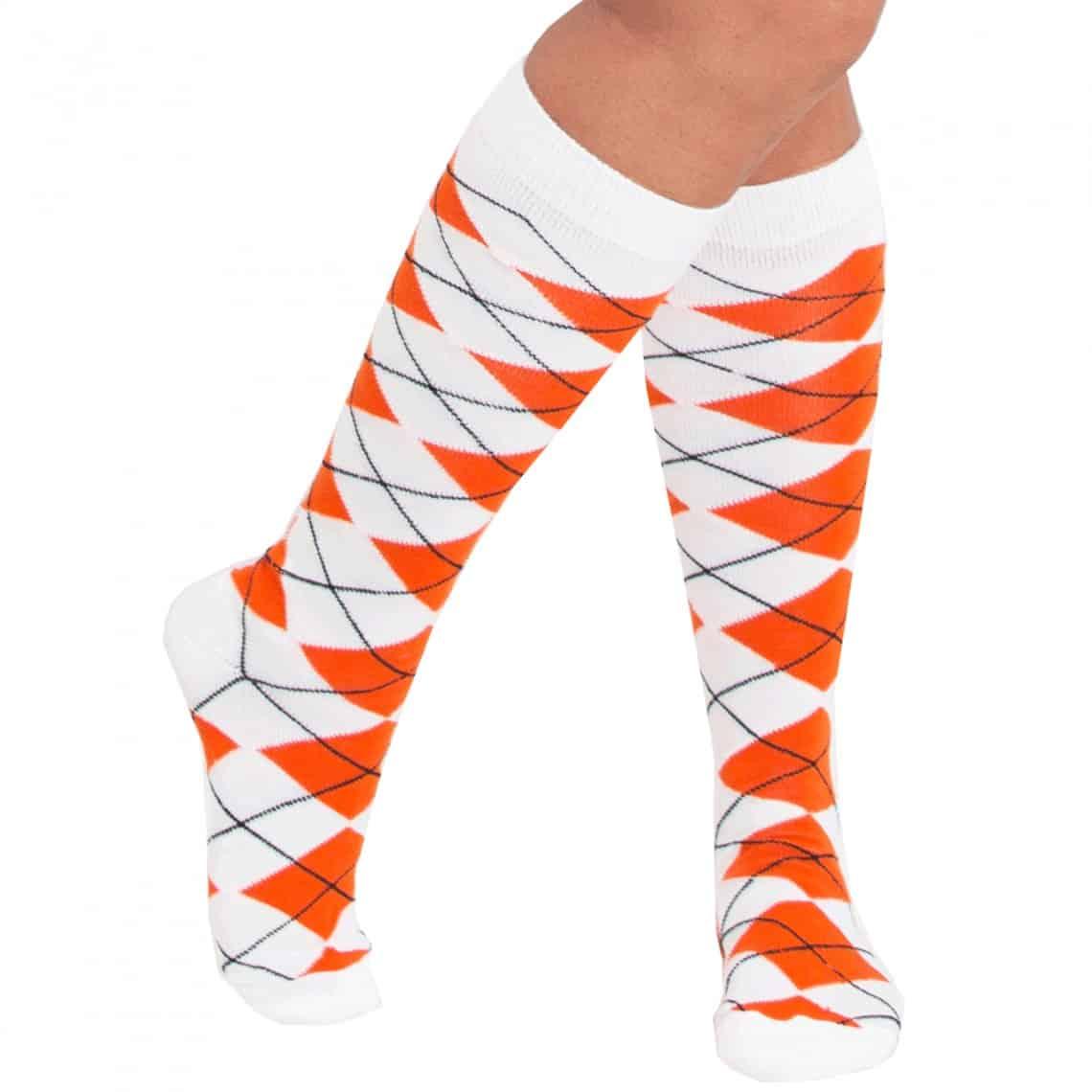orange and white argyle socks