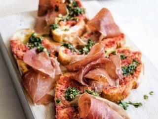 Tomato Bread with Serrano Ham and Parsley Pesto Recipe by Bobby Flay