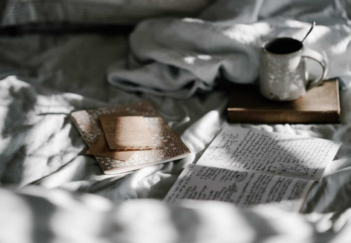 book coffee bed journal