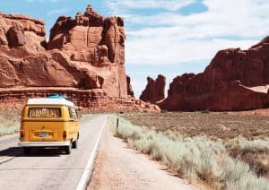 road trip yellow van