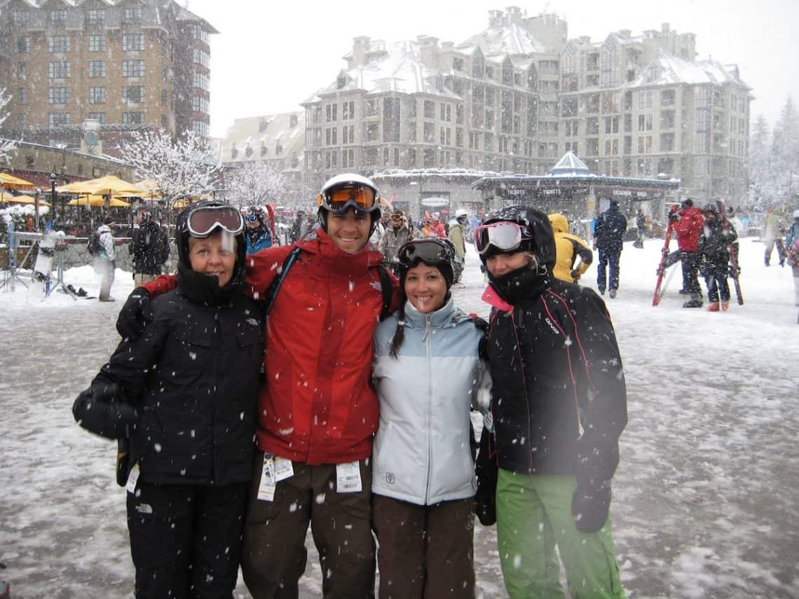 skiers in Whistler Village