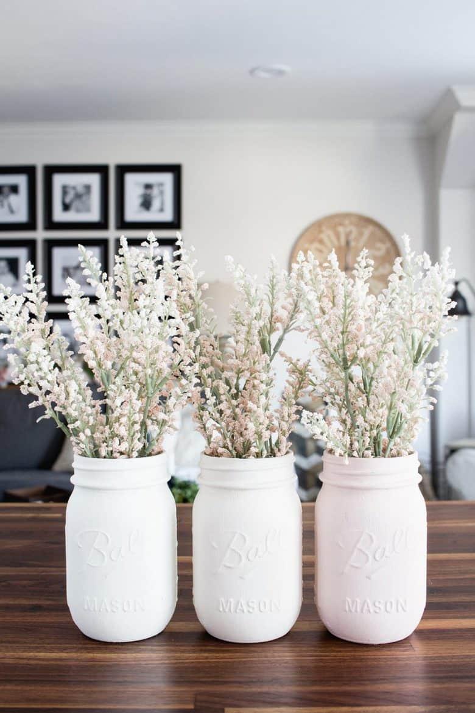 Ombre Blush Pastel Painted Mason Jar Vases