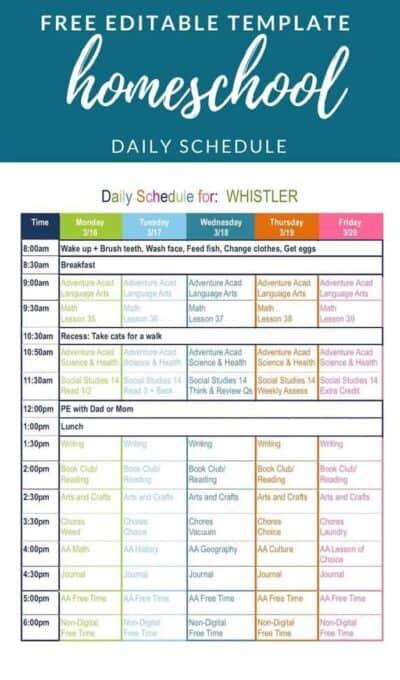 free editable homeschool schedule template