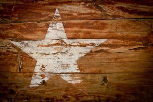 white star on wood texas
