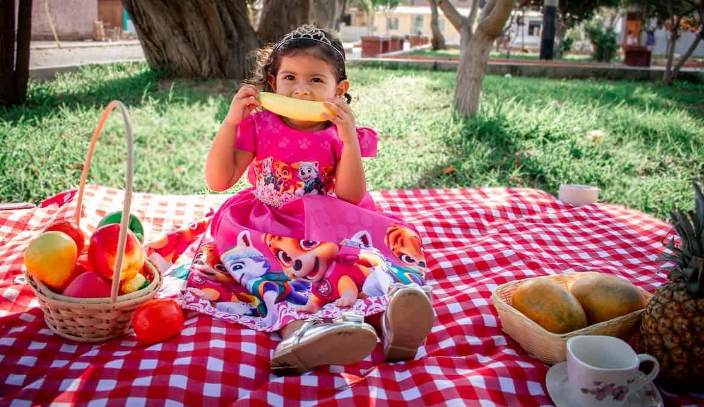 little girl enjoying picnic fruit snacks