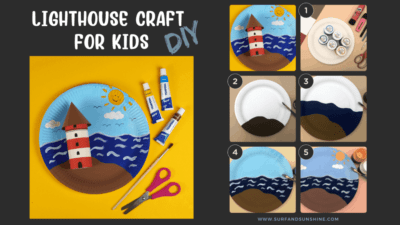DIY lighthouse craft idea for kids easy paper plate craft