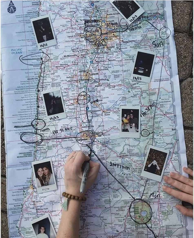 cute polaroid picture idea travel memory map