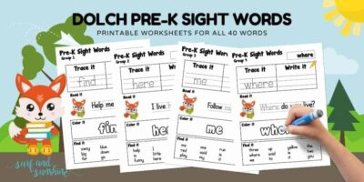 dolch sight words printable worksheets