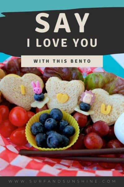 turkey and cheese sandwich bento  for kids to say i love you